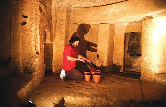 Percussionist Renzo Spiteri getting the feel of the acoustics at the Ħal Saflieni Hypogeum on his way to composing and recording a soundtrack for the audio guides used by visitors to the Unesco World Heritage Site. Photo: Gaby Giacchino.