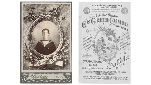 Front and back views of a decorated portrait of a British sailor by the Edward Grech Cumbo studio. Author's collection