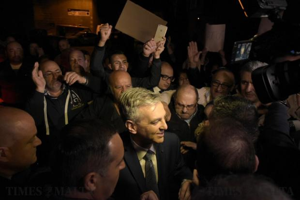Opposition leader Simon Busuttil is cheered and greeted by Nationalist supporters moments before entering for a televised debate between him and Prime Minister Joseph Muscat on April 21. Photo: Mark Zammit Cordina