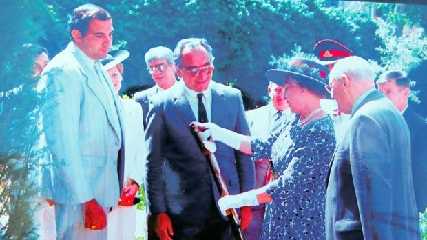 "Queen Elizabeth II at San Anton Gardens on May 25, 1992, inspecting the ceremonial spade, which has been used since 1901. The spade carries small brass plates bearing the names of all dignitaries who have planted a tree to commemorate their visit. The then manager of Malta's Public Gardens, the President's Gardens and Afforestation, Dr. Joseph Borg, right of the Queen, recounts how she remarked that ""engraving today's date on the same brass plate would do"", as it had quite a lot of plates already. Photo: Dr Joseph Borg"