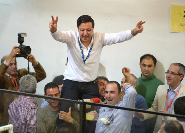 Clint Camilleri celebrates after being elected as Mayor of Qala at the voting hall in Naxxar on April 18. Photo: Matthew Mirabelli