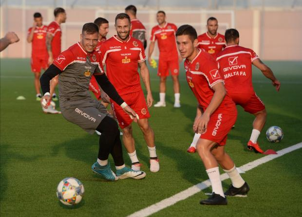 Malta national team players during a training session at the Centenary Stadium. Photo: Matthew Mirabelli