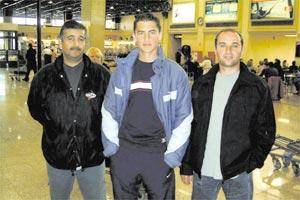 Andrei Agius (centre) with Sliema Wanderers FC nursery official Tonio Mizzi (left) and Marko Glumac, his personal coach.