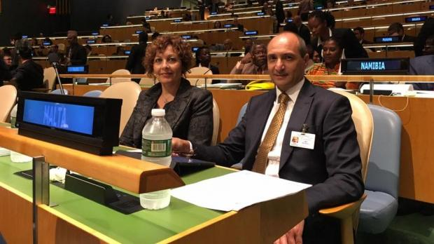 Dr Fearne (right) at the UN general assembly. Photo: Health Ministry