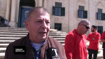Watch: Air Malta workers protest against 'unacceptable' hours | Video: Chris Sant Fournier