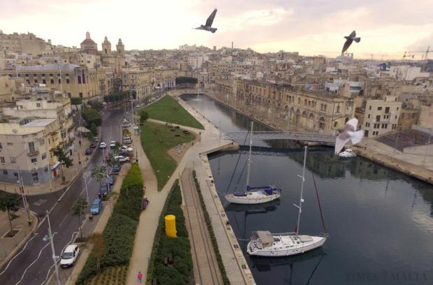 Pigeons fly over one of the two proposed campuses of the American University of Malta located in the buildings along Dock 1 in Cospicua on December 14. Photo: Matthew Mirabelli