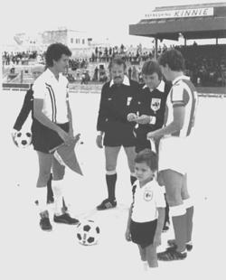 Hibernians skipper Guzi Xuereb (left) about to exchange banners with the Red Star Belgrade captain in one of the last three European matches played at the old Empire Stadium.