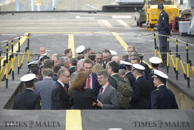 European Defence Minsters are lowered from the deck of the Italian Naval Ship San Giusto at Valletta on April 26. Photo: Mark Zammit Cordina