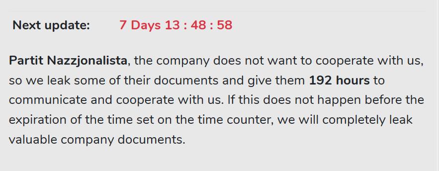 Screenshot of hackers website on Friday