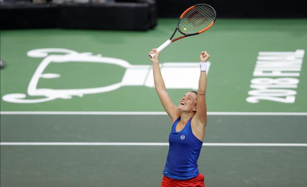 Czech Republic's Barbora Strycova celebrates winning her match against Sofia Kenin of the U.S.