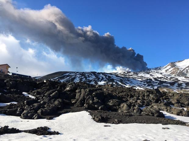 Ten people were injured in an eruption on Mount Etna when magma flowing into snow caused a violent explosion that sent rocks flying into the air. Amongst those hurt were members of a BBC television crew who were filming at the summit on March 16. Photo: Matthew Mirabelli