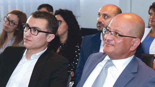 Silvio Schembri, Parliamentary Secretary for Financial Services, Digital Economy and Innovation, with Dr Debattista. Photo: Kevin Abela/DOI