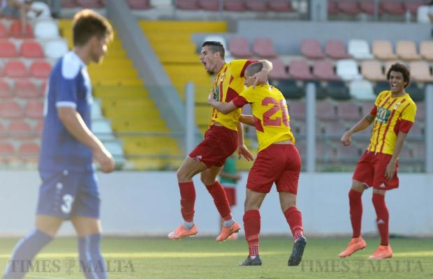 Birkirkara players celebrate after NK Siroki Brijeg's Stipo Marković scores an own goal during their Europa League second leg match at the Hibernians Stadium in Corradino on July 5. Photo: Matthew Mirabelli