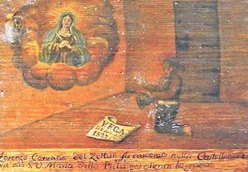 Ex Voto from Tal-Ħniena Chapel in Żejtun showing a person who was held in the Castellania for some time, praying to the Madonna while in jail awaiting trial. Apparently the trial ended in his favour, hence the ex voto. Photo courtesy of Michael Buhagiar.