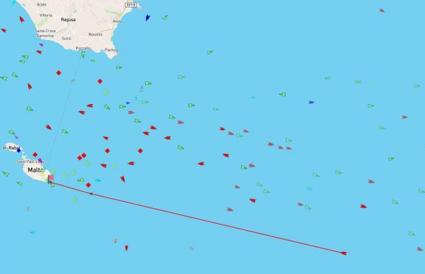 The LNG tanker is nearing the end of its voyage to Malta. The above image shows its location as of 10.30pm. Photo: MarineTraffic.com