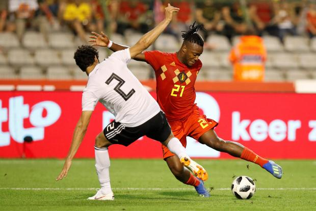 Belgium's Michy Batshuayi in action with Egypt's Ali Gabr.