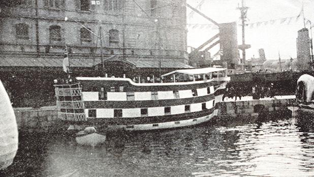A water carnival float of a replica of the Hibernia from HMS Hoivernia.
