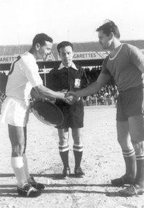 Valletta FC captain Edwin Schembri (left) exchanging mementoes with the Rijeka skipper before a Christmas Tourney match played on December 30, 1962 at the Gzira stadium. Looking on is referee Ritchie Casha.