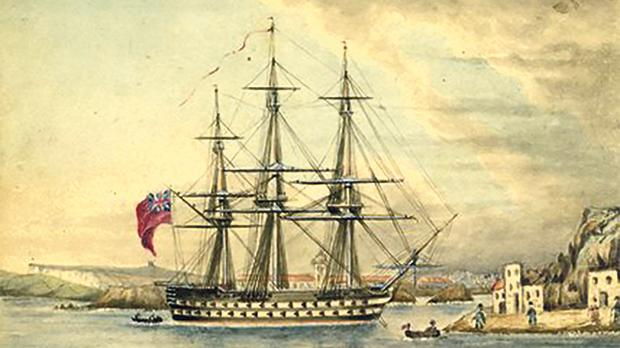 A 1837 watercolour painting by John Bolton Woodthorpe of HMS Rodney, a 92-gun vessel of the Royal Naval, moored in the port at Mahón, Spain.