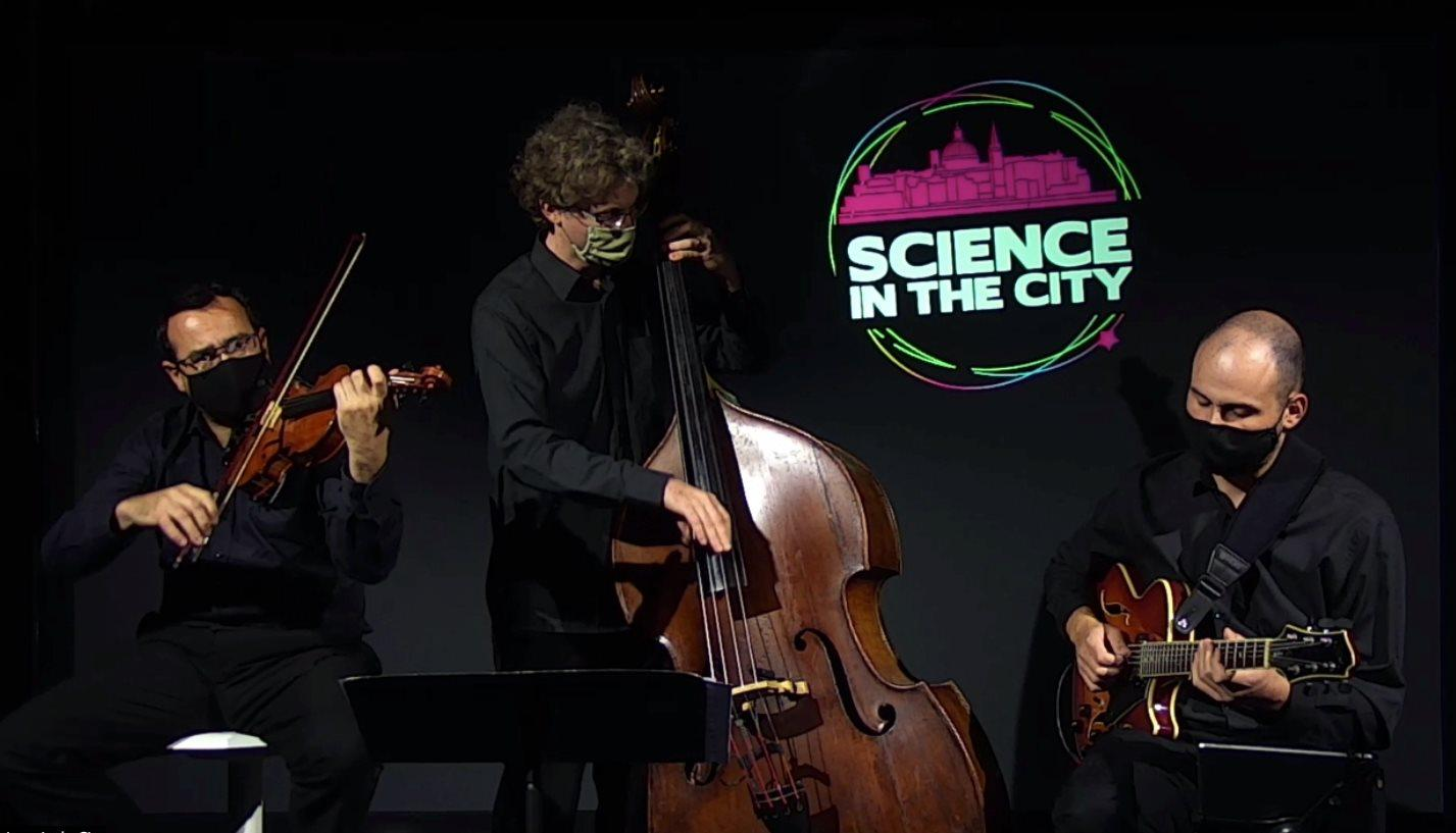 Science in the city Music performance by Bats Do Jazz with musician Diccon Cooper and researcher Simone Cutajar.