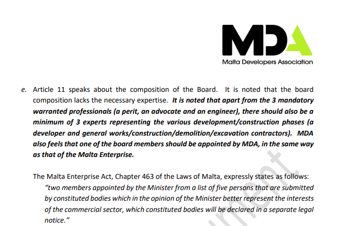 The MDA's proposal as seen in an internal document.