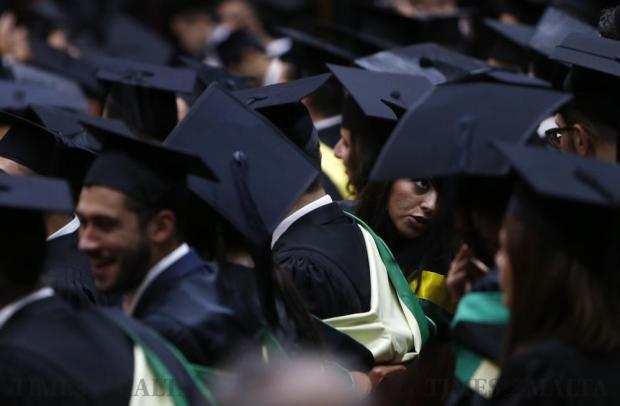 University students attend their graduation ceremony at the University of Malta in Tal-Qroqq on November 15. Photo: Darrin Zammit Lupi