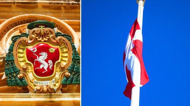 Coat of arms of St Paul's Cathedral. Right: Flag flying high. Photos: Amy Mallia