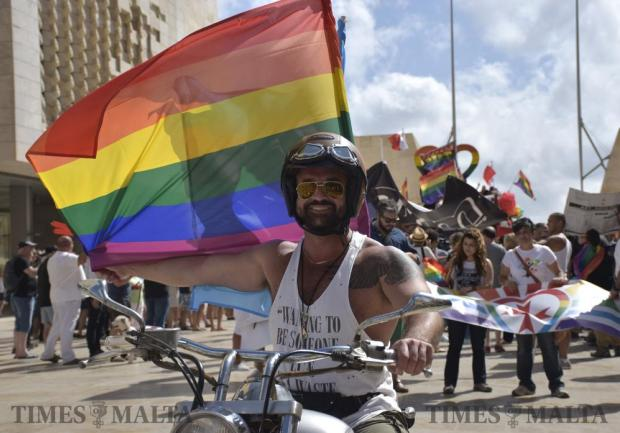 A participant at this years annual Gay Pride Parade on a Motorcycle in Valletta on June 11. Photo: Mark Zammit Cordina