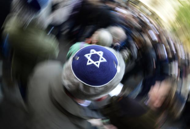 "a participant of the ""Berlin wears kippa"" rally wears a kippa, organised after a spate of shocking anti-Semitic assaults. File photo."