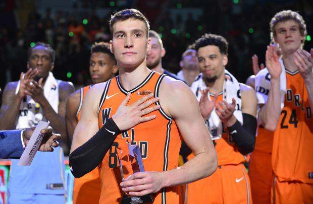 World guard Bogdan Bogdanovic (8) reacts after being named MVP of the Rising Stars Challenge game against USA following the second half at Staples Center. Photo Credit: Gary A. Vasquez-USA TODAY Sports