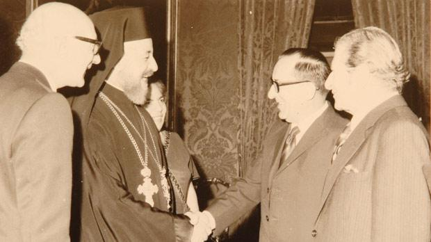 With Cyprus President and Archbishop Makarios in 1973.