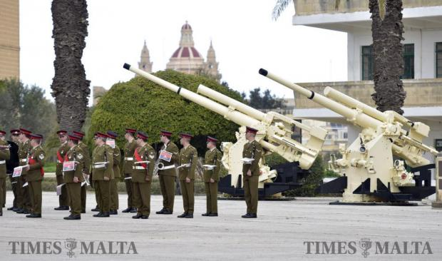 The Armed Forces of Malta band look to their right during the passing out parade in Luqa on February 15. Photo: Mark Zammit Cordina