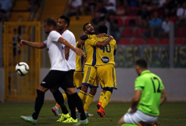 Maccabi Tel Aviv's players celebrate scoring a goal during their their Champions League second qualifying round match against Hibernians at Hibs Stadium on July 14. Photo: Darrin Zammit Lupi