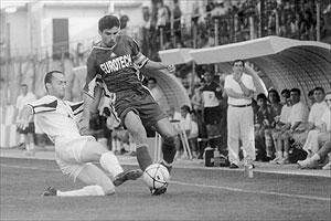 Valletta defender Daniel Theuma tackles KS Teuta skipper Olgert Muka.