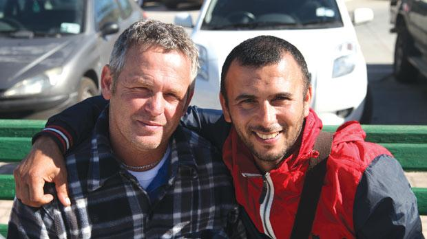 Simon Bugeja, left, on the set of Simshar with actor Lotfi Abdelli, who plays him in the film