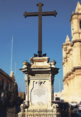 When the Żejtun people won a battle against French soldiers near the Capuchins' Convent, in Kalkara, in 1890, they returned home with a triumph cross which they installed in a prominent place. Together with a canon used to defend Żejtun from the French, the cross is still in the square today.