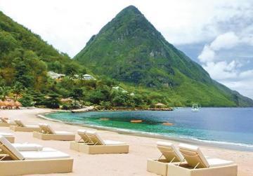 Beautiful white beach in St Lucia, Caribbean Islands.
