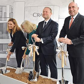 From left: Annemarie Watson, president, International Currency at Crane Currency, US Ambassador Kathleen Hill, Prime Minister Joseph Muscat and Crane Currency CEO Stephen DeFalco at Wednesday's ceremony at the US company's yet-to-be-built facility. Photo: Chris Sant Fournier
