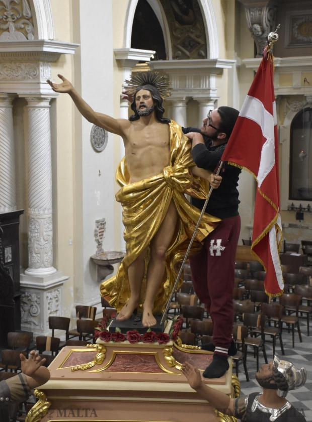 Last minute preparations take place on 26 March at the Jesuits' Church, Valletta, for the procession of the Risen Christ onEaster Sunday Photo: Mark Zammit Cordina
