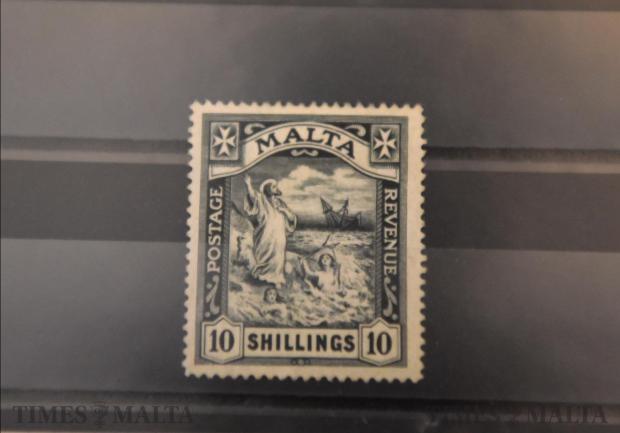 - A rare Maltese stamp is on display at the Kazin Malti in Valletta on October 12. Photo: Mark Zammit Cordina