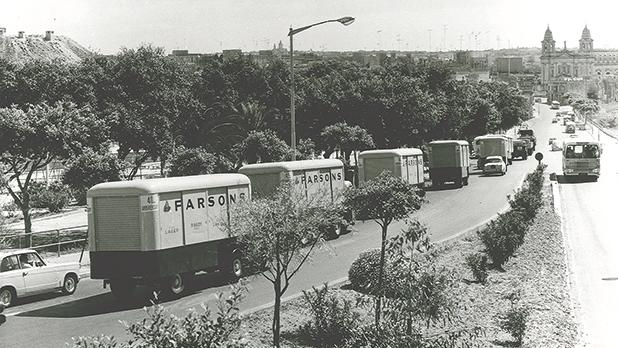 Scammell delivery trucks drive along December 13 Avenue in Marsa on the occasion of the 40th anniversary of Farsons Ltd in 1968. Farsons is this year celebrating 90 years of brewing in Malta.