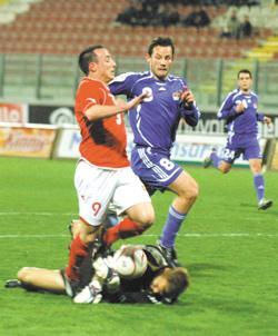 Malta striker Michael Mifsud is blocked by Liechtenstein goalkeeper Peter Jehle yesterday. Photo: Chris Sant Fournier.