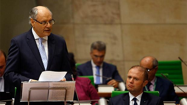 Edward Scicluna (left) turned up in Parliament yesterday evening armed with a kiss-and-make-up Budget, which, Joseph Muscat (right) says, targets those who have not yet benefitted from economic growth.