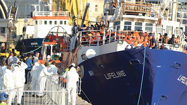 The MV Lifeline disembarking rescued migrants at Senglea last month. Photo: Matthew Mirabelli