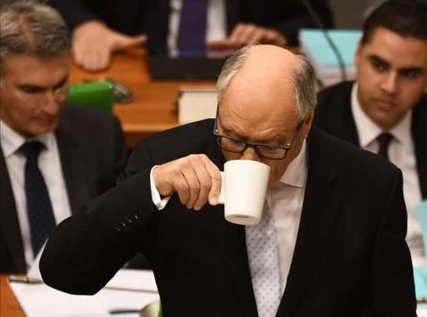 Finance Minister Edward Scicluna takes a quick coffee break during the budget speech. on October 9. Photo: Jonathan Borg