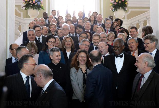 Prime Minister Joseph Muscat jokes with members of the Diplomatic corp after a group photo at Castille on January 19. Photo: Matthew Mirabelli
