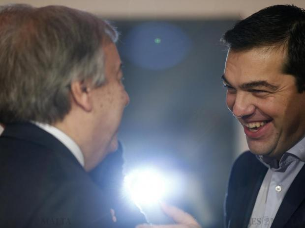 Greek Prime Minister Alexis Tsipras (right) speaks with United Nations High Commissioner for Refugees Antonio Guterres during the Valletta Summit on Migration at the Mediterranean Conference Centre in Valletta on November 12. Photo: Darrin Zammit Lupi