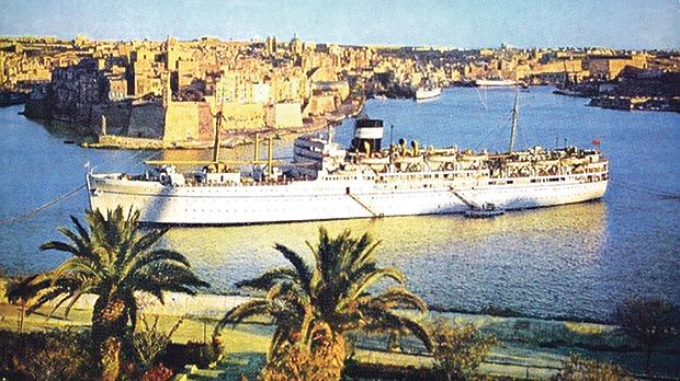 The passenger ship MS Dunera was a frequent visitor in Grand Harbour in the 1950s.