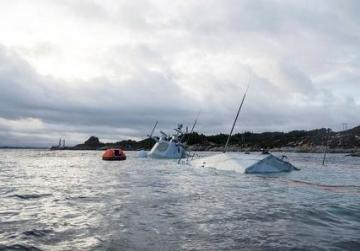 Shipwrecked Norwegian navy frigate sinks further, nearly submerged