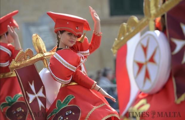 Dancers perform their routines on stage during carnival in St George's Square in Valletta on February 27. Photo: Matthew Mirabelli